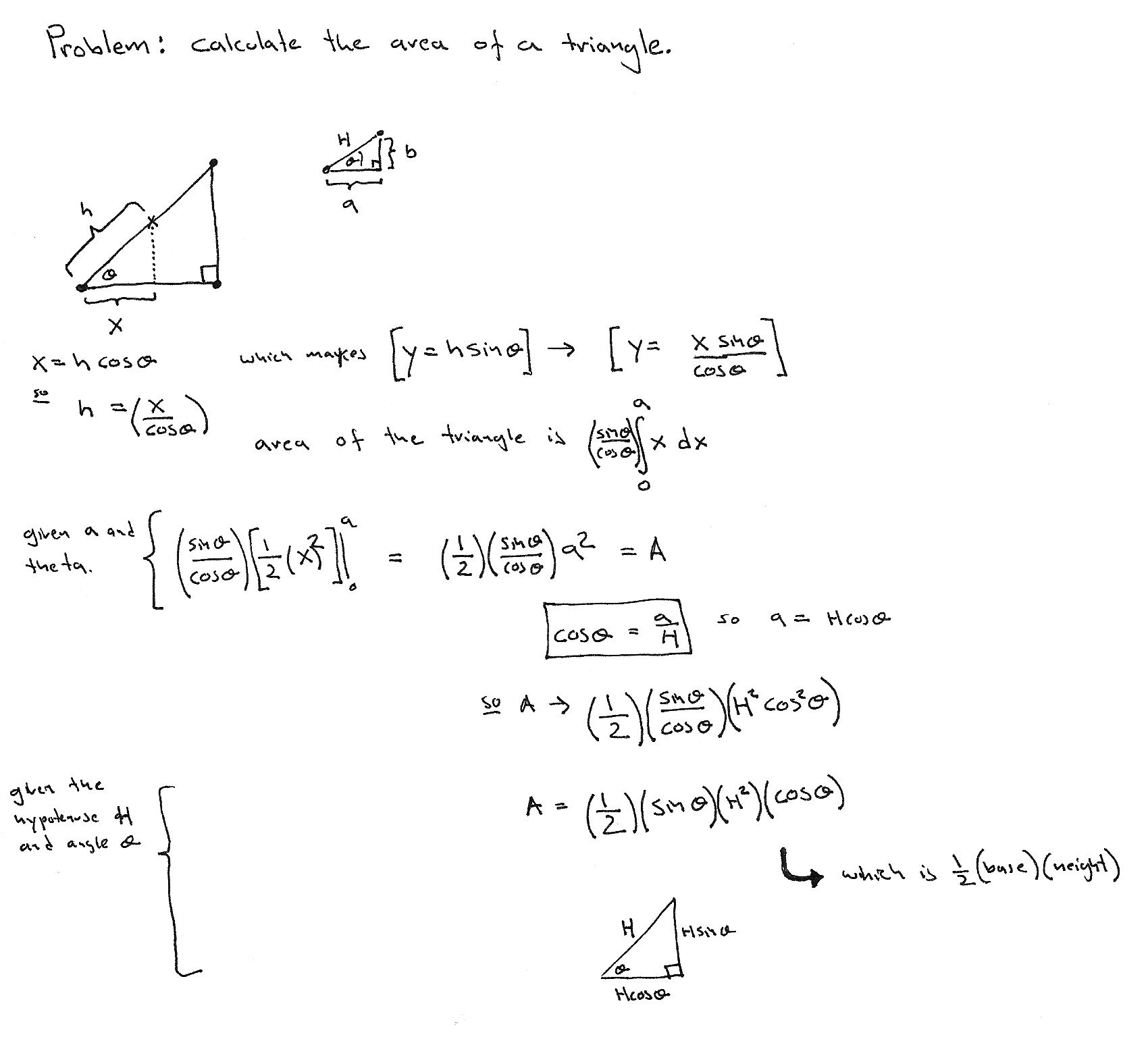 Area of a right triangle via integration